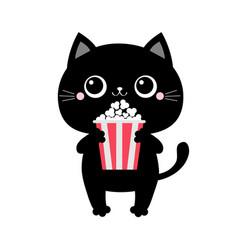 Black cat holding eating popcorn cinema theater vector