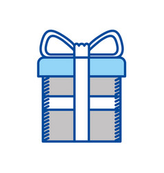 Blue contour of gift box with decorative ribbon in vector