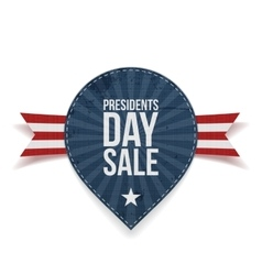 Blue striped presidents day sale label with ribbon vector