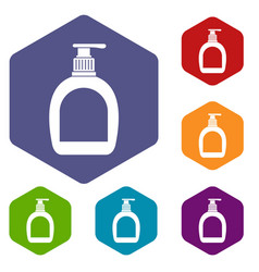 Bottle with liquid soap icons set hexagon vector