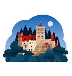 Bran castle at night vector