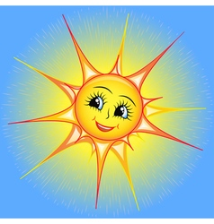 Bright cartoon of a smiling sun i vector