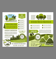 Brochure for green landscape eco design vector
