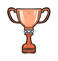 bronze trophy cup of the victory team isolated vector image