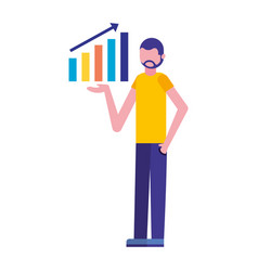 businessman showing statistics chart report vector image