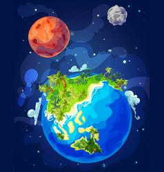 Cartoon natural earth globe template vector
