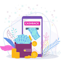 Cashback concept with a wallet flat vector