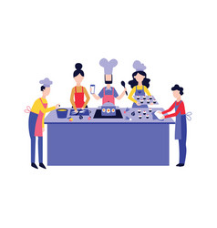 chef cooking food with team at kitchen table flat vector image