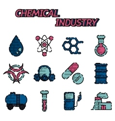 Chemical industry flat icon set vector