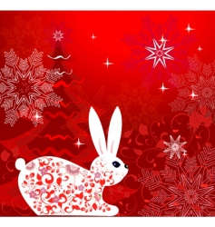 Christmas rabbit design vector image