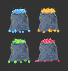 cloth fabric money bag full various diamonds vector image