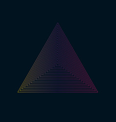 concentric contour triangles colorful on black vector image