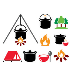 cooking over a fire campfire cooking icons vector image