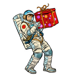 Cosmonaut with gift box vector
