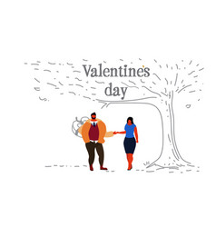 couple in love happy valentines day concept vector image