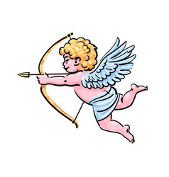 cupid aiming a bow and arrow in cartoon style vector image