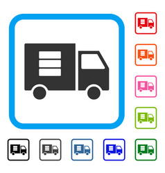 data transfer van framed icon vector image