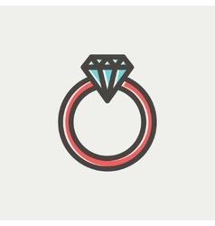 Diamond ring thin line icon vector