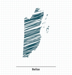 Doodle sketch of Belize map vector