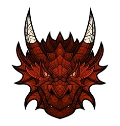 Dragon head mascot in color mosaic style vector