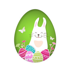 easter card with eggs and rabbit vector image