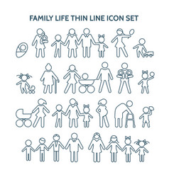 Family life thin line icons vector