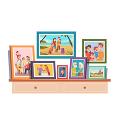 Family photos memories photo with smiling people vector