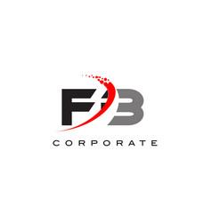 Fb modern letter logo design with swoosh vector