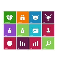 Finance icons on color background vector