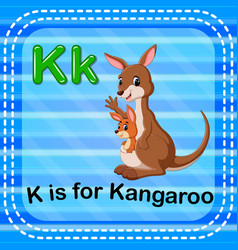 Flashcard letter k is for kangaroo vector