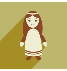 Flat icon with long shadow virgin mary vector