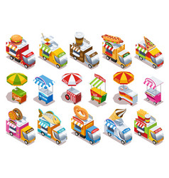 food truck isometric icons set vector image