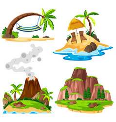 four scenes of island and beach vector image