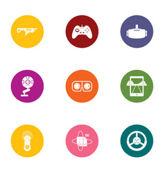 Game reality icons set flat style vector