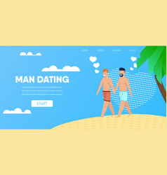 gay male couple hold hands on beach vector image