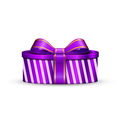 gift box 3d pink ribbon bow isolated white vector image