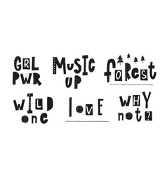 Girl power music love wild forest quote lettering vector