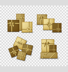 gold colored gift boxes with golden ribbons and vector image