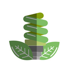 Green energy save bulb with leaves icon vector