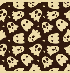 halloween seamless pattern with cute ghosts and vector image