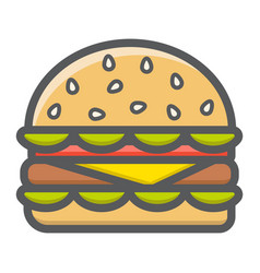 hamburger filled outline icon food and drink vector image