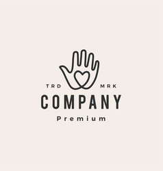 hand love hipster vintage logo icon vector image