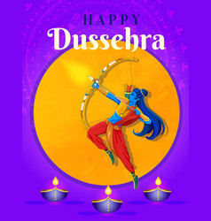 happy dussehra indian holiday template vector image