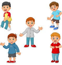 Happy little boys with different activities vector