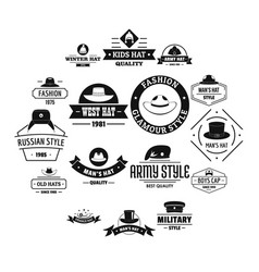 Headdress hat logo icons set simple style vector