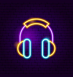 Headphones neon sign vector