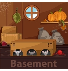Home basement with rodents boxes and food vector