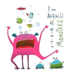 Horrible funny underwater monster screaming vector