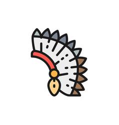Indian chief headdress native american flat vector
