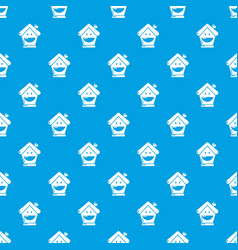 Insurance house pattern seamless blue vector